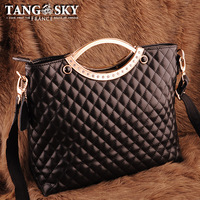 Cowhide jewellery plaid sewing thread round vintage handbag cross-body gentlewomen female bags fashion