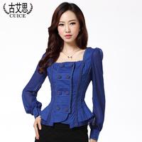 6Colors Korean Extra Plus Size S-5XL 2014Spring Lady Puff Long Sleeve Square Collar Tunic Peplum Chiffon Career Blouse Shirt Top