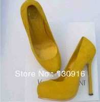 High-heeled shoes fashion yellow suede platform high heels single shoes high-heeled women's shoes