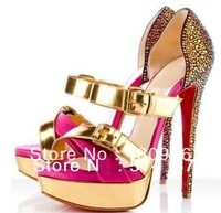 14CM Red bottom high heel shoes genuine leather Hotsale gold iron buckle muti-color platform sandals