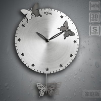 Mute wall clock fashion modern clock fashion individuality brief small butterfly fluttering