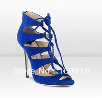 2013 newest fashion blue high heel wedge women sandal shoes