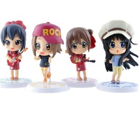 Free Shipping High Quality Cute !K-ON! Mio Akiyama Yui Hirasawa Figure Set of 4pcs nice Gift for Girl Friend