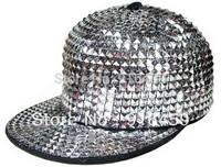 Free shipping 2014 New style full Shiny flat rivet PUNK Hiphop baseball snapback nightclub rivet Black Spike studded Cap hat