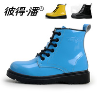 Peter pan children shoes child boots waterproof thermal genuine leather child glossy cowhide boots male female child boots