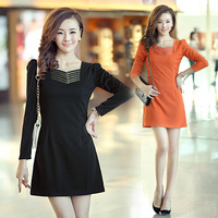 autumn 2013 OL female outfit long-sleeve slim fashion elegant V-neck 100% solid color cotton one-piece dress