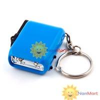 Free shipping: Mini Dynamo Wind-up KeyChain 2-LED Torch Flashlight Blue/Yellow wholesale