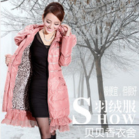 Free shipping 2013 slim medium-long lace down coat female plus size  wool fur coats winter daser ski suit park cotton big size