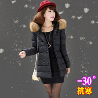Free shipping 2013 women's double breasted fur collar medium-long female winter down coat thick  wool fur coats winter daser