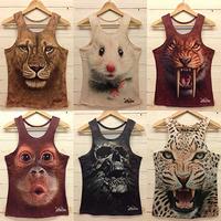 free shipping cool men 3D-Tshirt fashion 3D animal print Retro Rock&Roll Punk T-shirt