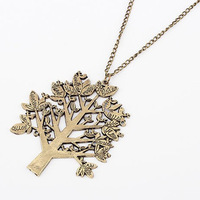 Min.order is $10 (mix order) Cheap price wholesale woman's jewelry necklace,retro style bird trees letters carving sweater chain
