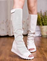 Popular open toe boots elevator women's cool boots tall boots high-leg 2014 summer boots