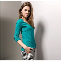 Autumn long t-shirt clothing top sleeve fashion shirt stripe style t-shirt women slim shirt