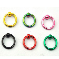 6PCS MIX COLORS 14G10MM Captive bead EAR EYE NIPPLE circular Septum RINGS MA10