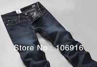 New Korean version Washed Nostalgic Classic Wild Section Men's Straight Jeans Blue-Black #6226 Hot