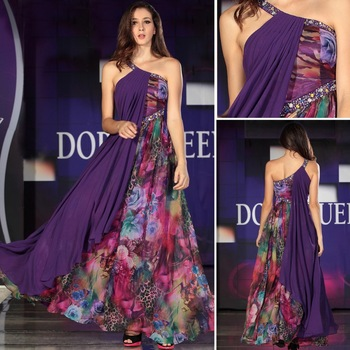 Free Shipping DORISQUEEN 30821 spaghetti one shoulder printing colorful Long prom dresses 2013 long