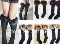 5pairs/lot Fashion women's fur socks winter lady's warm boot leg warmers woolen footwear free shipping