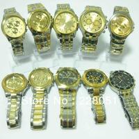 free shipping 10pcs/lot NEW STYLISH LUXURY WATCHES MEN'S MAN QUARTZ STAINLESS STEEL WRIST WATCH GOLD