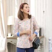 2013 new fashion a23909 mosaic slim waist ruffle hem Shirt Top Elegant lady dress free shipping