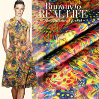 Elastic silk mulberry silk digital print clothes fabric one-piece dress peacock feather