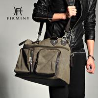 New arrival fashion male fashion casual canvas big bag double pocket shoulder bag messenger bag male