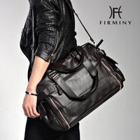 Recessionista PU male shoulder bag travel bag portable horizontal big bag