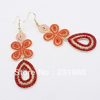 Red Fashion European Style Gold Plated Resin Clover Drop Dangle Flower Earrings