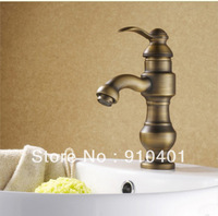 Free Shipping Wholesale And Retail Promotion NEW Euro Style Antique Bronze Bathroom Basin Sink Faucet Single Handle Mixer Tap