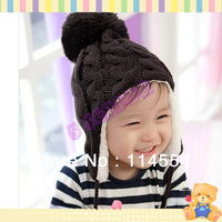 5 colors New Arrival Children Baby Knitted Hats Winter crochet Hat with villi inner Kids Earflap Cap 18006