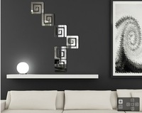 free shipping Geometry 6 mirror wall stickers home tv sofa mirror