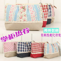 Bag fabric small clutch japanese style patchwork cosmetic storage bag rustic bags girls