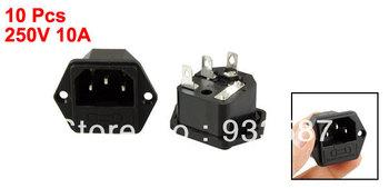 250V 10A 3 Pins IEC 320 C14 Power Inlet Socket w Fuse Holder 10 Pcs