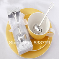 "FREE SHIPPING+""Tea Time"" Heart Coffee Infuser in Elegant White Gift Box Wedding Party Favors+20sets/Lot"