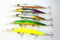 lot 5 145mm Minnow Crank Bait fishing Lures 14.5CM 12.7G 6#hooks Hard bait Stick fishing lure 3 Carbon hooks free shipping