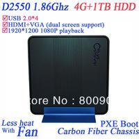 4G RAM 1TB HDD file server mini servers with COM WiFi optional intel dual core D2550 1.86Ghz HDMI VGA dual display 1920*1200