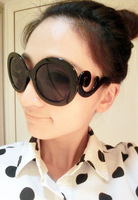 Circle sunglasses star style vintage circle glasses big box round box anti-uv sunglasses female