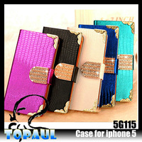 50pcs/lot Free EMS shipping Lizard Grain Style PU Material Wallet Style Leather Case for iphone 5 (5G115)