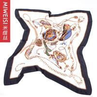 [Free Shipping] Silk scarf 2013 spring clocks chain print silk scarf women