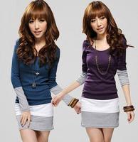 High Quality spring 2014  fashion cardigan women pullover O-Neck  Blouse Stripe sweater women Dress