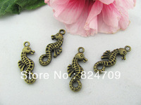Free Shipping Vintage Seahorse Pendant,Antique Bronze Seahorse Charm,Antique Connector Findings, Fit Necklace &bracelet DIY