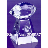 Noble 2013 Best selling Grade A  Faceted Football With Tall Base Crystal Corporate Award Trophy gifts design,logo and size OEM