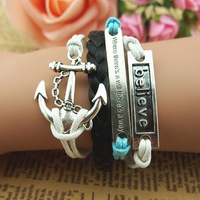 Hot-selling fashion bracelet anchor silver bracelet romantic accessories hand-knitted leather cord multi-layer leather bracelet