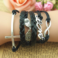 Antique Silver Owl, romantic Love, Cross, infinity bracelet men bracele,t Multi-layer Black Wax cords friendship bracelets FB138