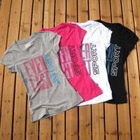 Free shipping Everlast summer women's 100% cotton o-neck slim fashion short-sleeve T-shirt 1 - 4  wholesales
