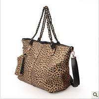 2013 fashion leopard print one shoulder women's handbag fashion vintage formal women's big bags