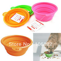 Dogs Pet Pet shopPet Dog Cat Fashion Silicone Collapsible Feeding Water Feeder Travel Bowl Dish LX0117 Free shipping&DropShippin