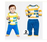 2013 new autumn outfit boys striped long suit 5set/lot baby leisure long-sleeved suit
