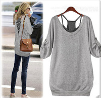 Discount new 2013 2 pieces t shirts big size t shirt woman's cotton t shirts hollow out tops tank+t shirt  size XL-6XL