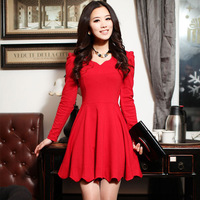 2012 autumn long-sleeve slim red one-piece dress bridal wear toadyisms married formal dress red skirt  Free shipping