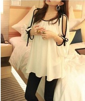 Lady Fashion  Lantern sleeve Chiffon blouse,Dew shoulder loose Chiffon blouse